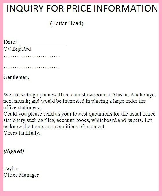 Price Information | business letter examples