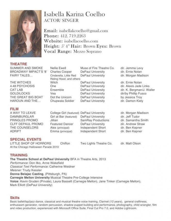 Musical Theatre Resume Examples. Lofty Design Ideas Dance Resume ...