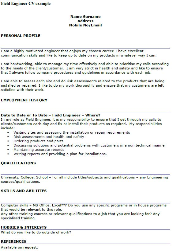 Field Engineer CV Example - icover.org.uk