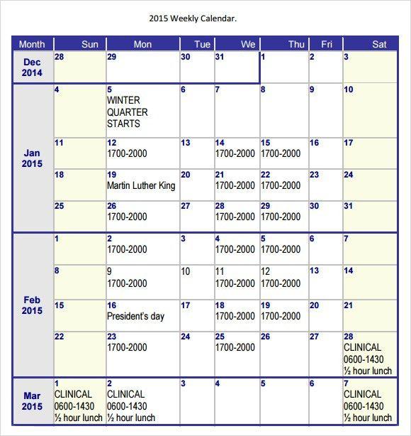 Word Calendar Template | cyberuse