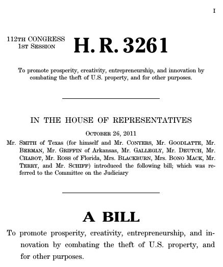 Stop Online Piracy Act (2011; 112th Congress H.R. 3261) - GovTrack.us