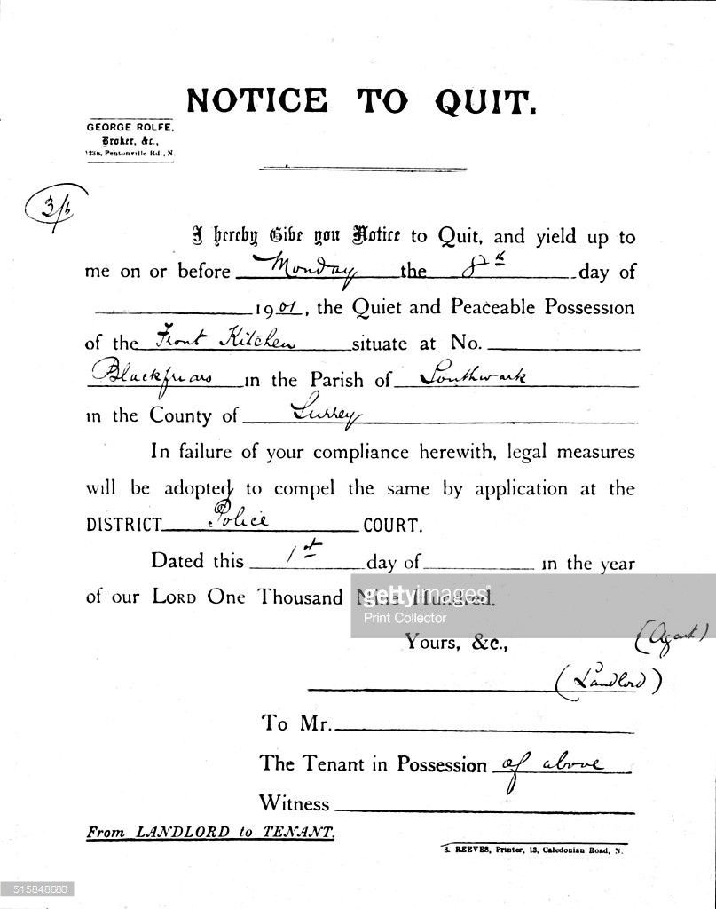 Notice to Quit, 1900 (1901) Pictures | Getty Images