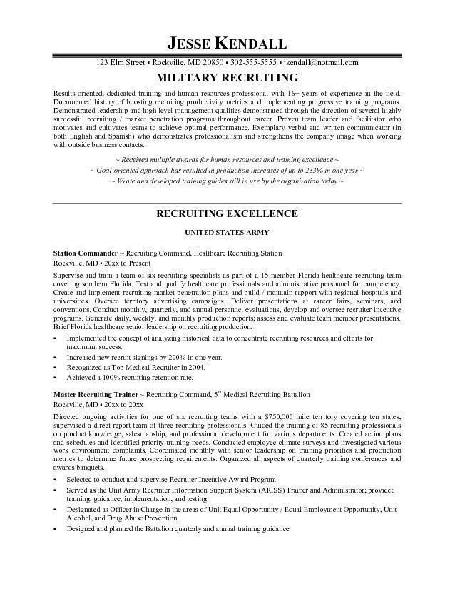 Download Sample Resume Recruiter | haadyaooverbayresort.com