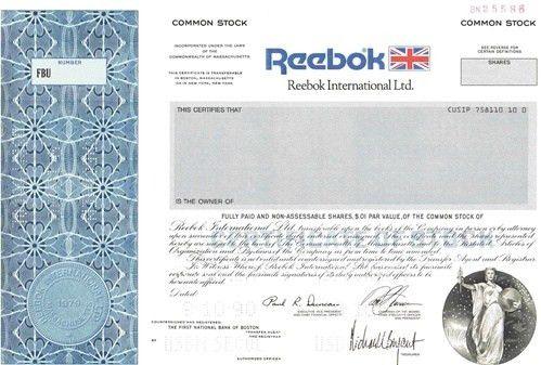 Reebok International Ltd Specimen Stock Certificate