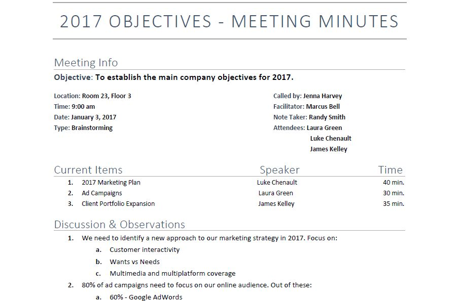 6 Meeting Minutes Template Examples | Templates Assistant