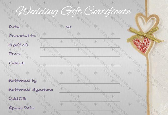 Sentimental Wedding Gift Certificate Template