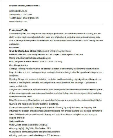 Sample Data Scientist Resume - 7+ Examples in Word, PDF