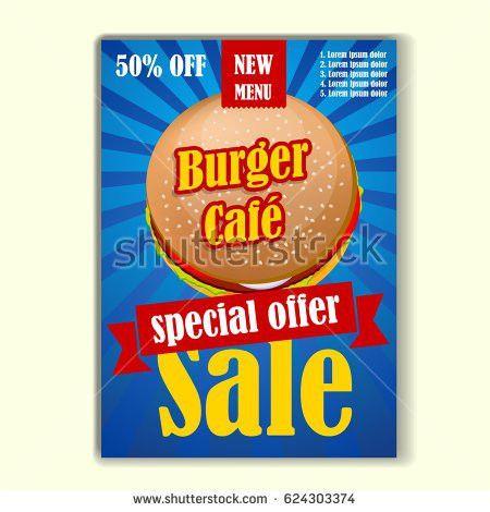 Fast Food Sale Flyer Design Vector Stock Vector 624303374 ...