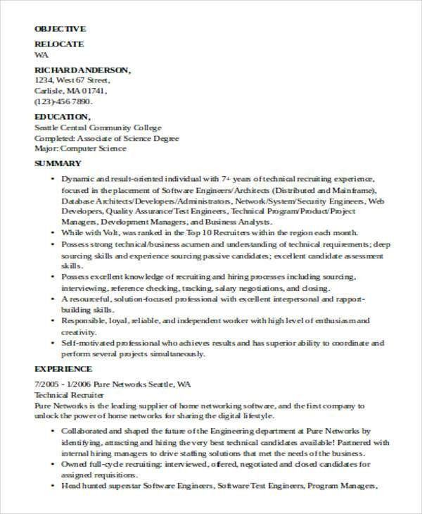 staffing recruiter resumes
