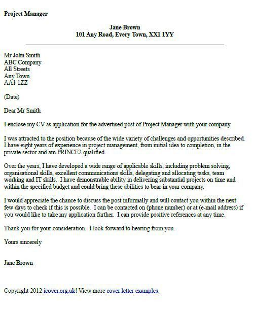 Sample Cover Letter For Project Assistant #3623