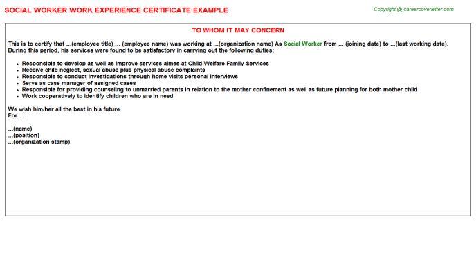 Social Worker Work Experience Certificate