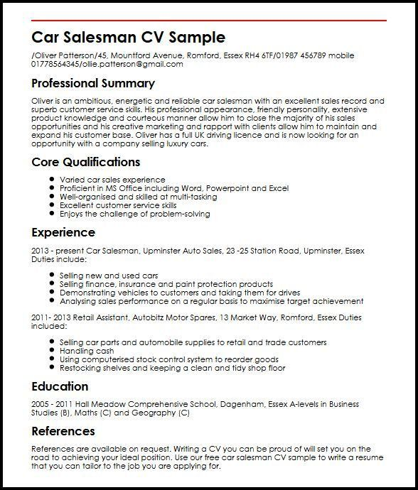 Car Salesman CV Sample | MyperfectCV