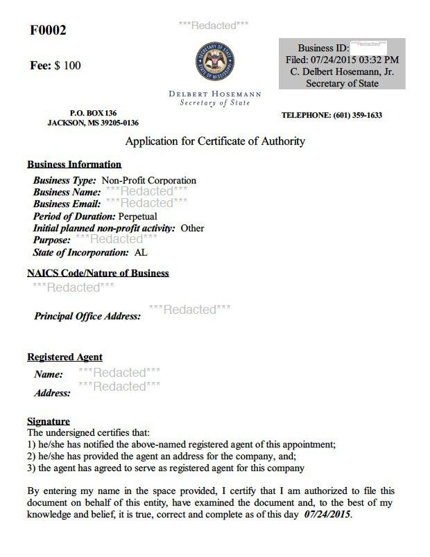 Mississippi Certificate of Authority | Harbor Compliance