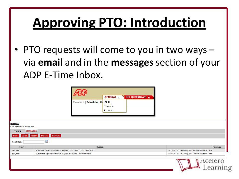 ADP E-Time Basic User Tutorial Manager Guide. Tasks covered in ...
