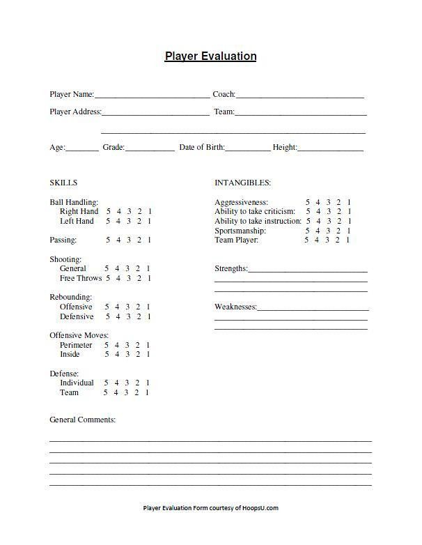 Basketball Tryout Evaluation Form   Basketball Coaching Tools ...