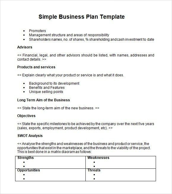 free word business plan template