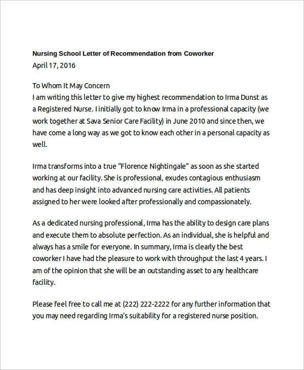 10+ Coworker Recommendation Letters – Free Sample, Example Format ...
