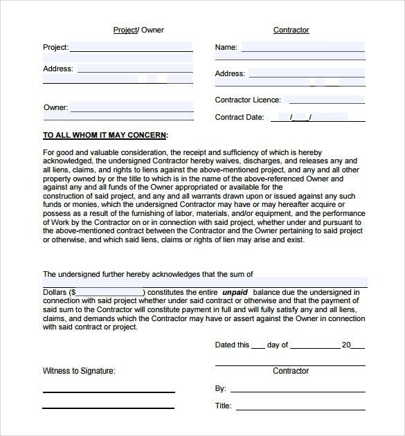 Sample Lien Release Form - 8+ Download Free Documents In PDF
