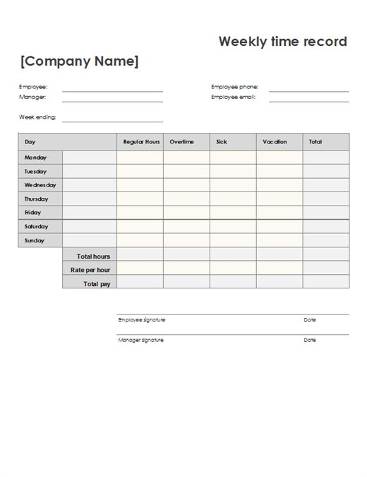 Weekly time sheet (8 1/2 x 11, portrait) - Office Templates