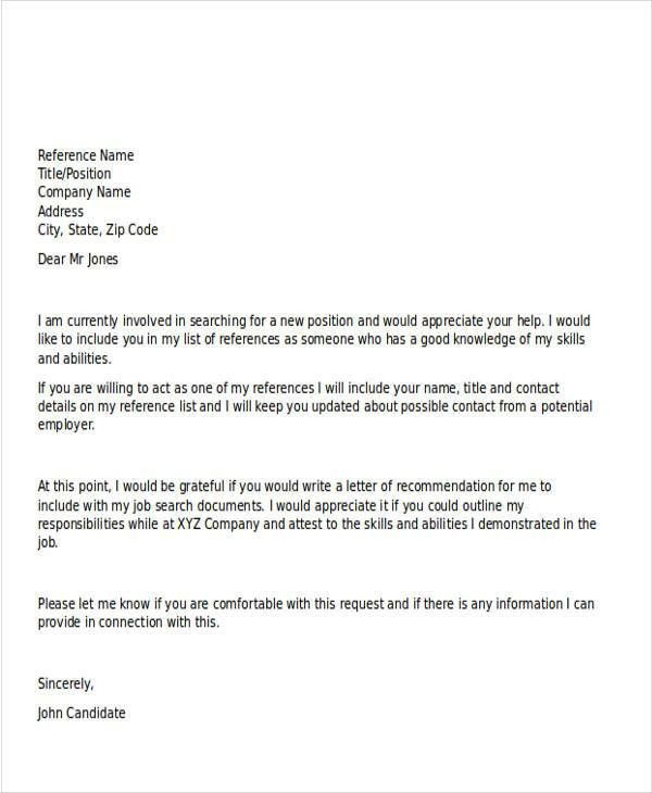 Sample Recommendation Request Letter. Letter Of Recommendation For ...