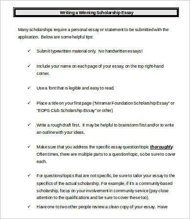 Scholarship Essay. Winning Scholarship Essay Example Scholarship ...
