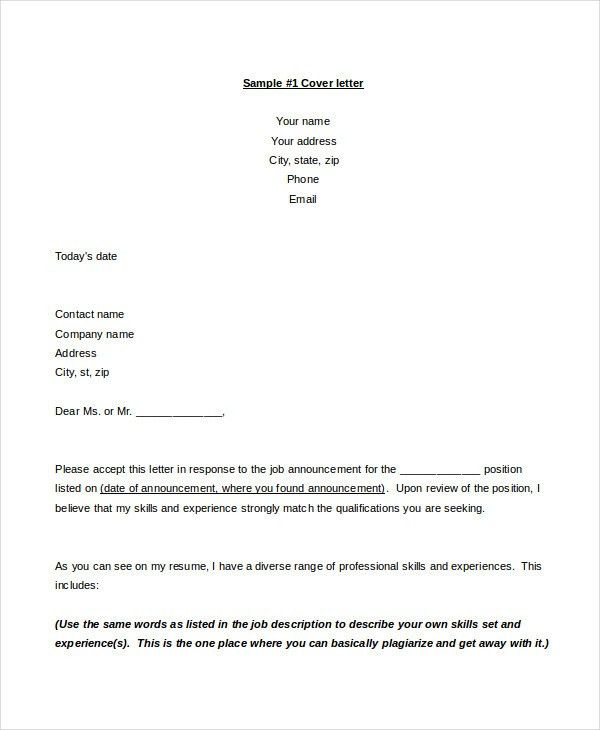 Resume Cover Letter - 15+ Free Word, PDF Documents Download | Free ...