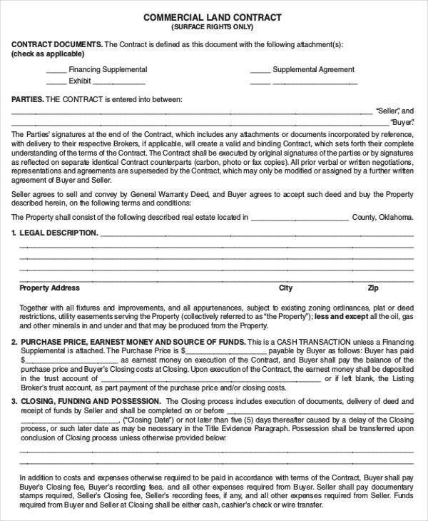 8+ Land Contract Templates - Free Word, PDF Format Download | Free ...
