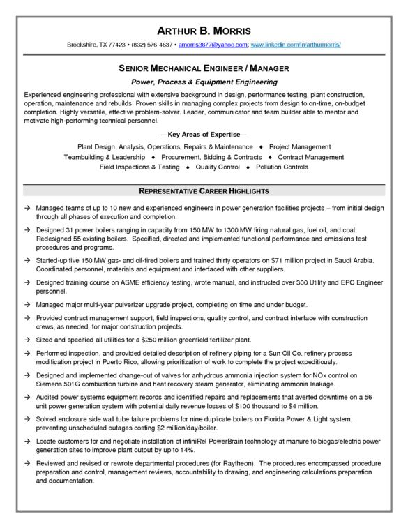 Senior Mechanical Engineering Resume Sample with Representative ...