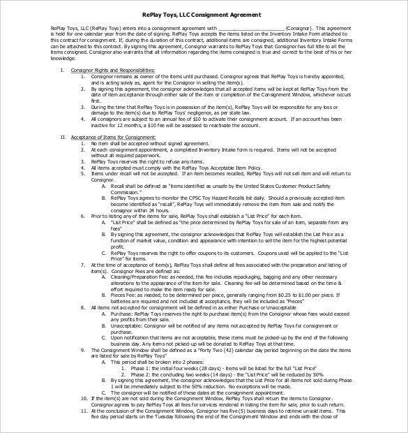Consignment Agreement Template – 12+ Free Word, PDF Document ...