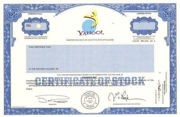 Yahoo Specimen Stock Certificate (Jerry Yang as President/CEO)