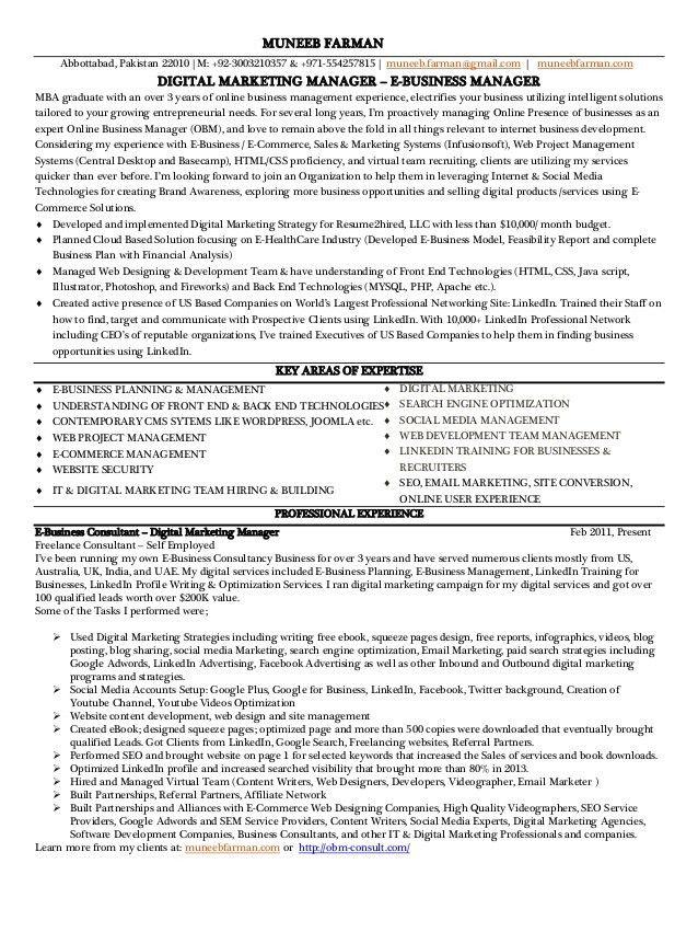 digital marketing manager resume samples visualcv resume samples ...