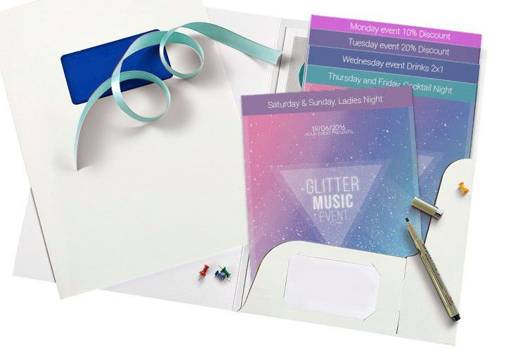 Custom Staggered Cut Flyer Printing | 4OVER4.COM
