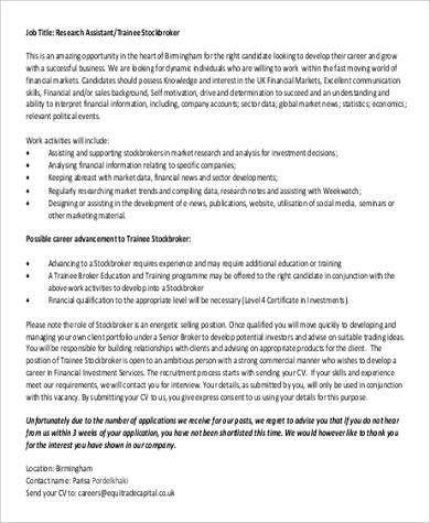 Stock Broker Job Description. Stock Clerk Resume Stock Job ...