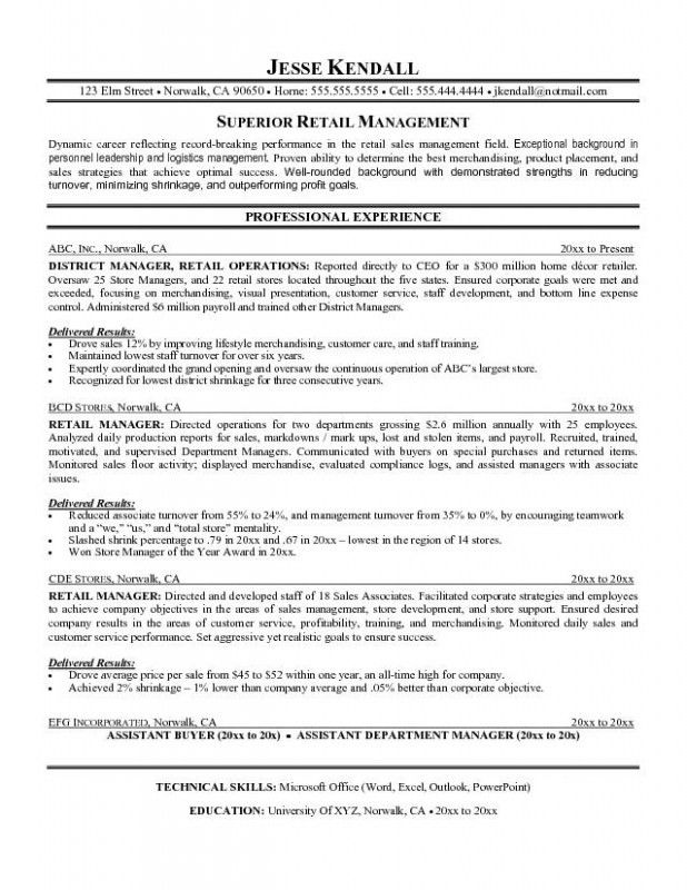 Retail Management Duties Resume. retail management resume examples ...
