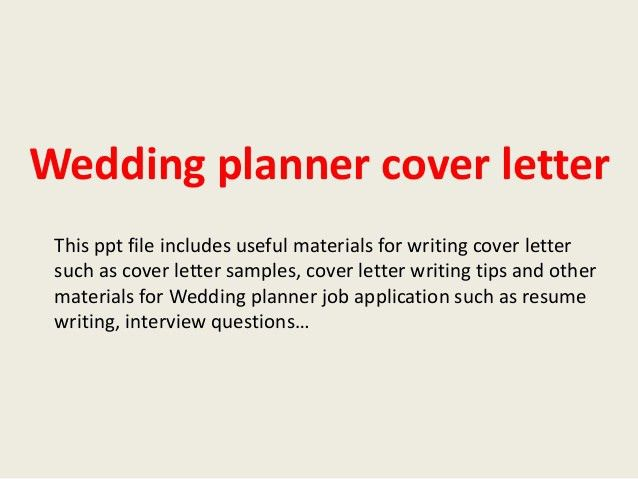 Wedding Consultant Cover Letter