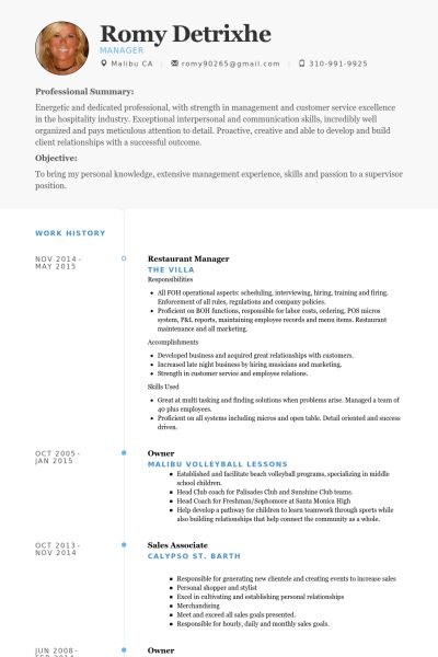 Restaurant Manager Resume samples - VisualCV resume samples database