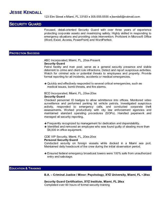 Security Guard Resume Example - Security Guard Resume Example we ...