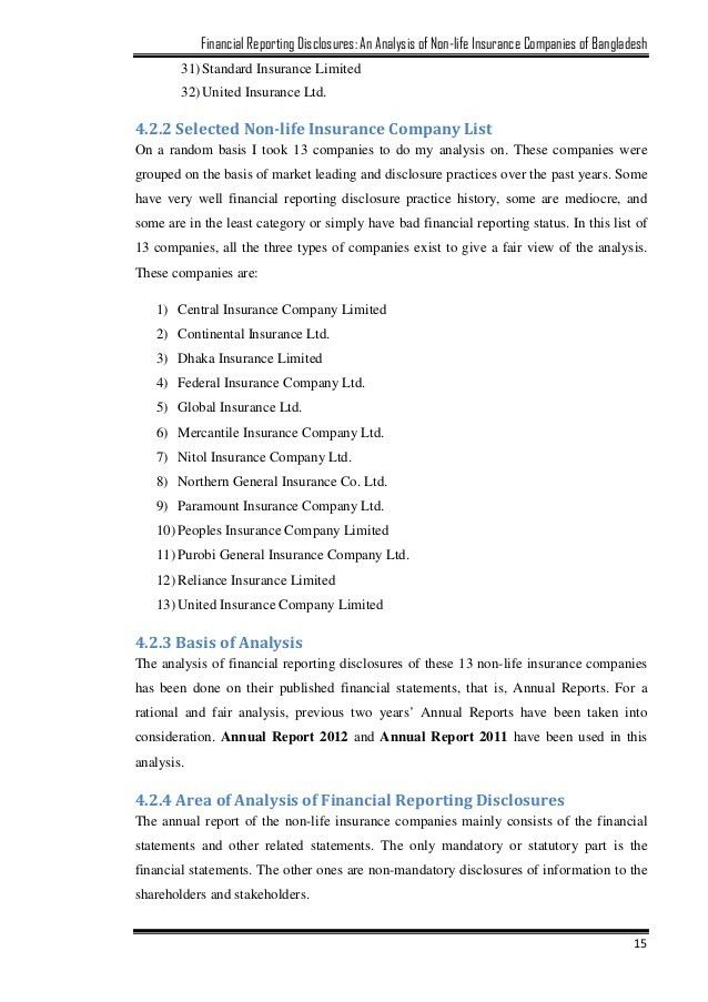 Financial Reporting Disclosures: An Analysis of Non-life Insurance Co…