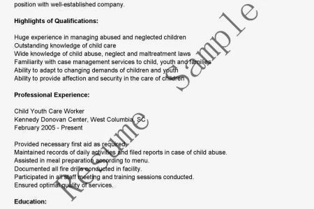 Day Care Resume Ideas - Reentrycorps