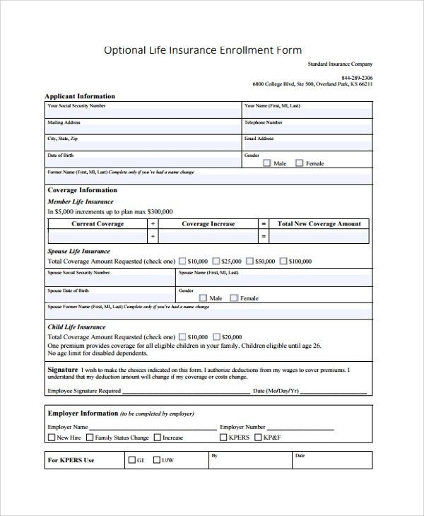 Sample Enrollment Form - 8+ Documents in PDF, Word