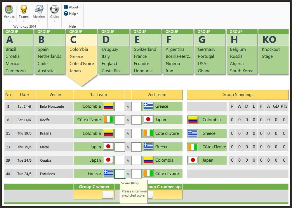 FIFA 2014 World Cup Brazil Predictions Excel Spreadsheet Template ...