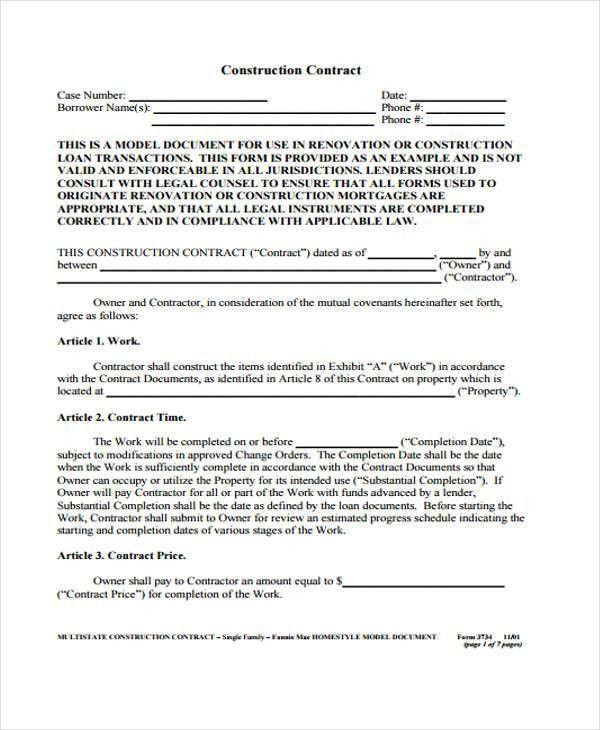 7+ Construction Contract Templates - Free Sample,Example Format ...
