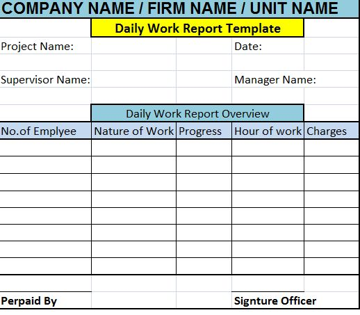 Daily Work Report Template – Free Report Templates