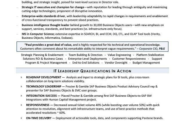 it sample technology manager resume information technology ...