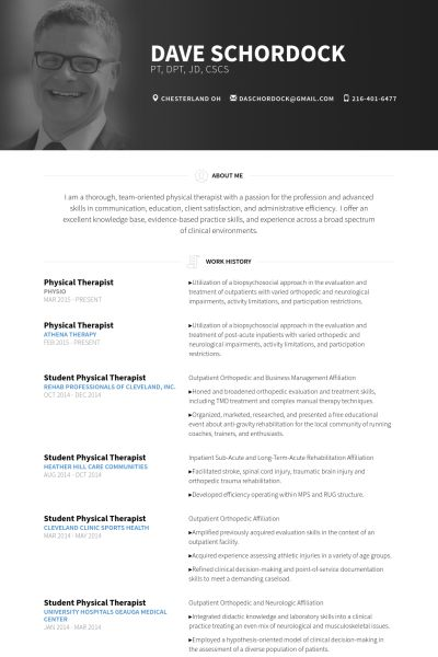 Physical Therapist Resume samples - VisualCV resume samples database