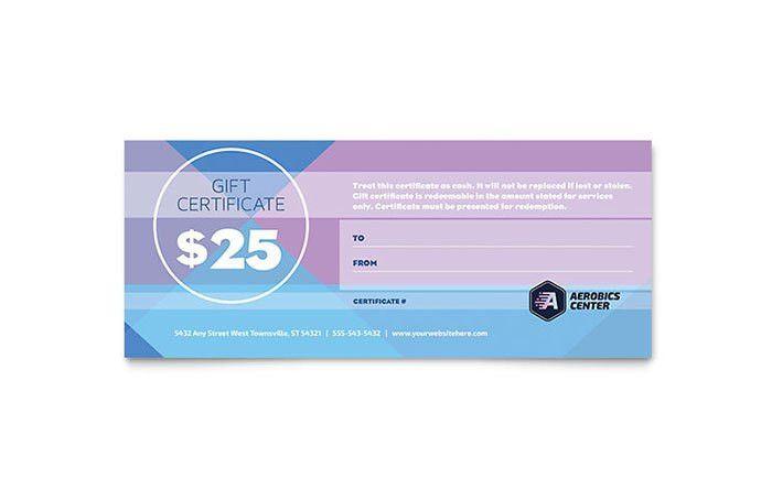 Aerobics Center Gift Certificate Template Design