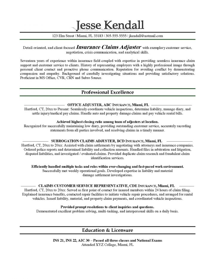 Claims Adjuster Resume Objective. cover letter for claims adjuster ...