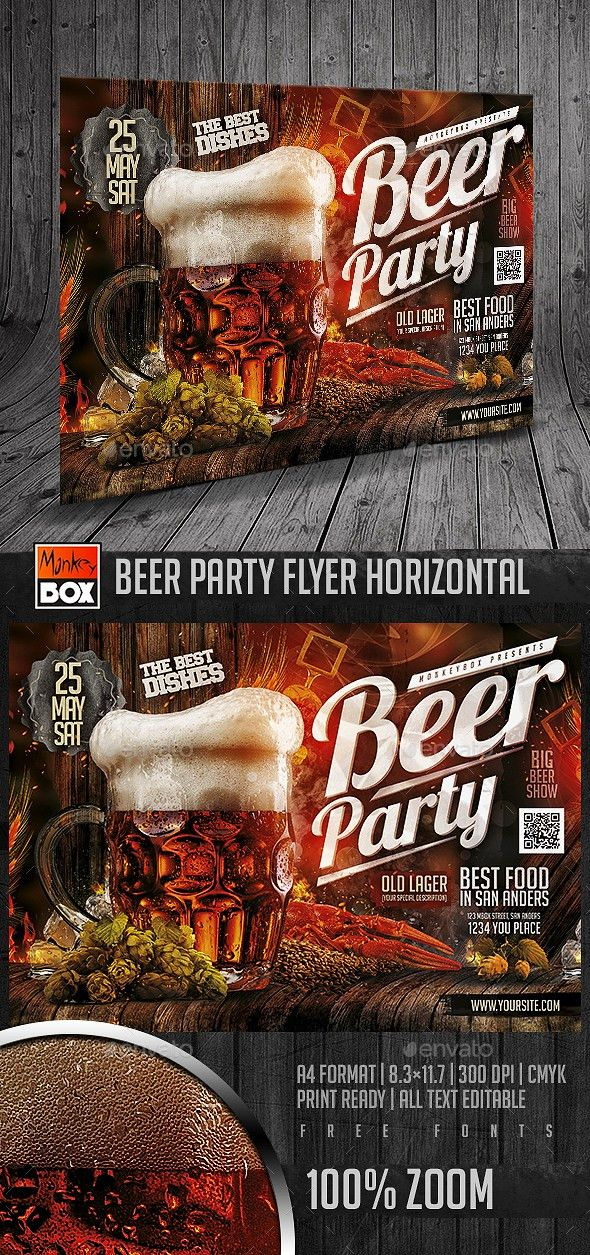 Beer Party Flyer Horizontal | Party flyer, Beer and Flyer template