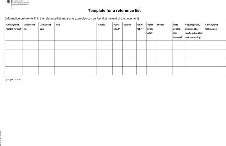 Reference List Template | Download Free & Premium Templates, Forms ...