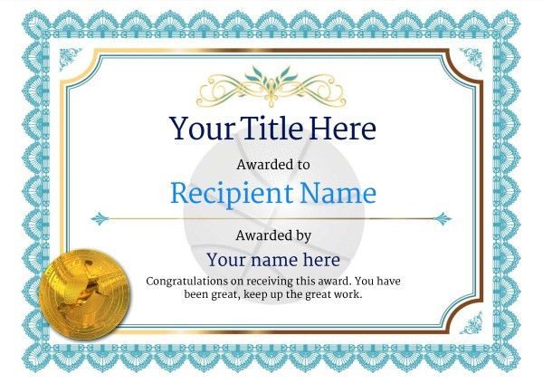 Free Basketball Certificate templates - Add Printable Badges & Medals